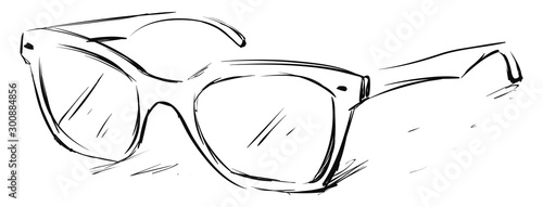 Glasses sketch, illustration, vector on white background. Fototapeta