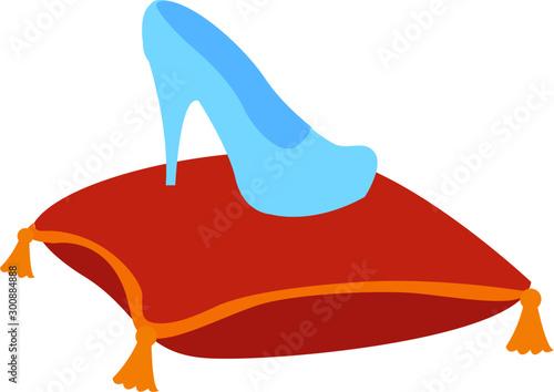 Fototapeta Glass slipper, illustration, vector on white background.