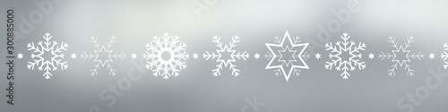 Pinturas sobre lienzo  Snowflakes and stars on silver background