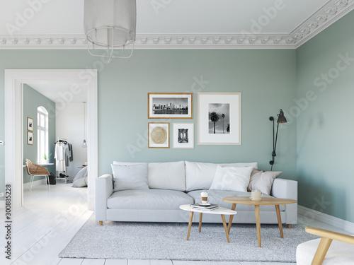 Fotografía  3D-Illustration. living room with picture frames. bedroom behind