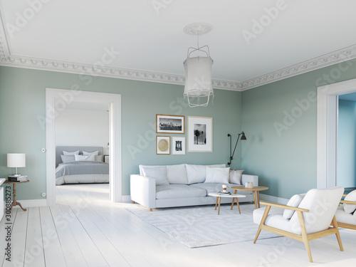 Fotomural  3D-Illustration. living room with picture frames. bedroom behind
