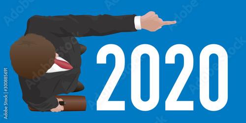 Tuinposter Hoogte schaal Carte de vœux sur le concept du leader qui montre la voie avec un homme vu du dessus qui indique le bras tendu, l'objectif a atteindre pour la nouvelle année.