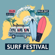 Surf Festival Poster With Retro Bus, Surfboards And Sea Waves.