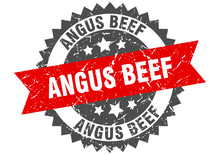 Angus Beef Grunge Stamp With Red Band. Angus Beef