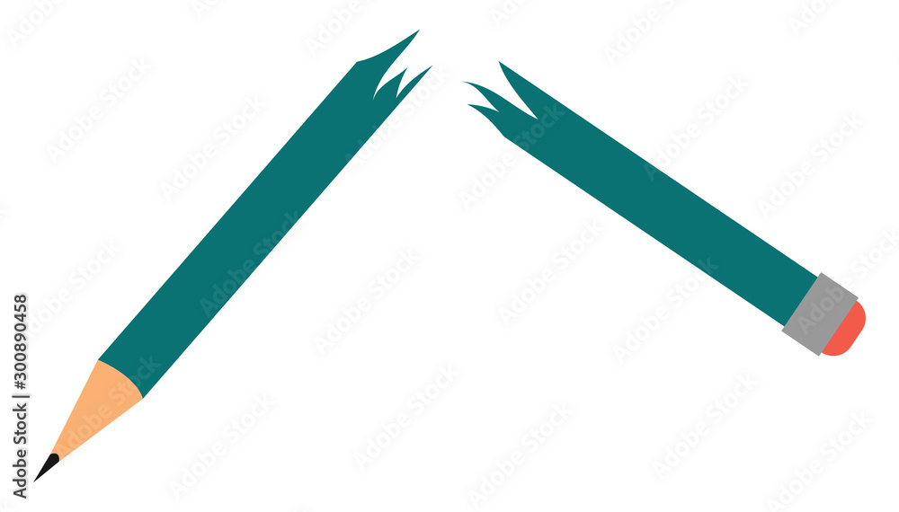 Fototapeta Broken pen, illustration, vector on white background.