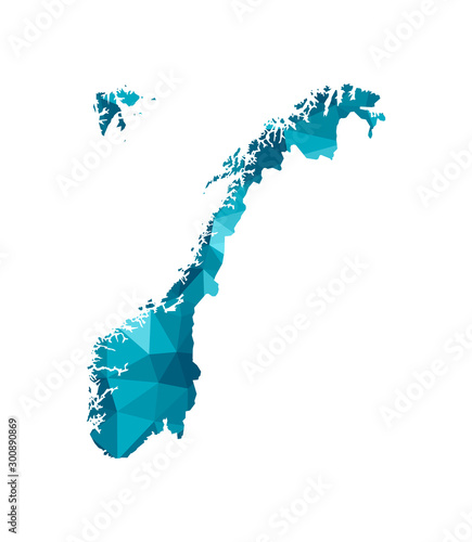 Cuadros en Lienzo Vector isolated illustration icon with simplified blue silhouette of Norway map