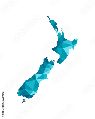 Fotomural Vector isolated illustration icon with simplified blue silhouette of New Zealand map