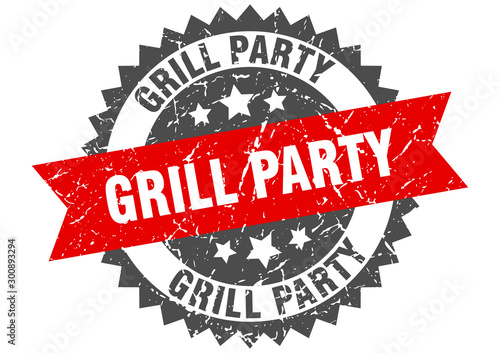 Photo  grill party grunge stamp with red band. grill party