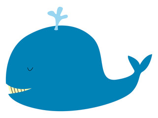 Happy whale, illustration, vector on white background.