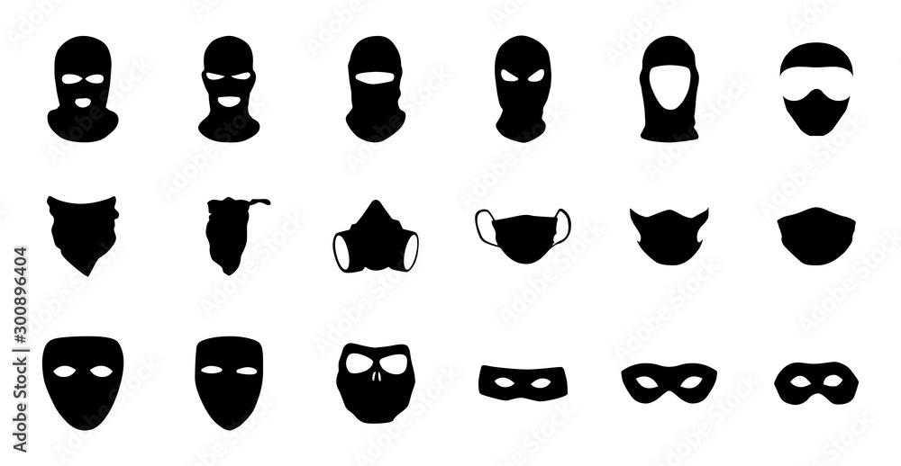 Fototapeta Vector masks of criminals, bandits and mafia