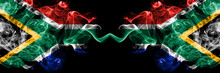 South Africa Vs South Africa, African Smoky Mystic Flags Placed Side By Side. Thick Colored Silky Abstract Smoke Flags Concept