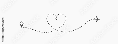 Fotomural Love travel route icon in transparent style