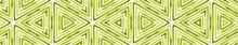 Green Seamless Border Scroll. Geometric Watercolor