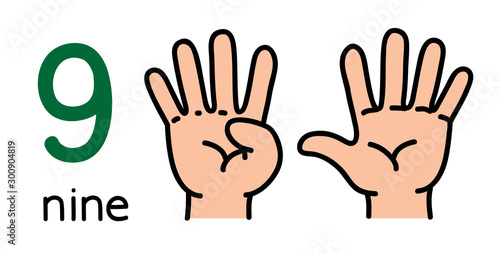 9. Kid's hand showing the number nine hand sign.