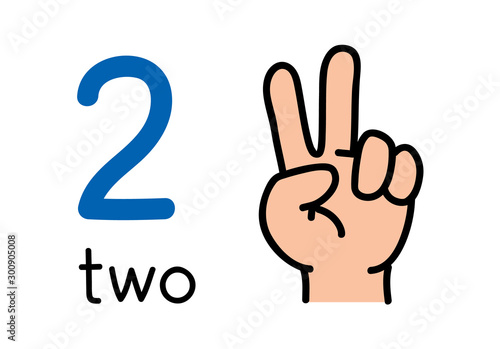 2, Kid's hand showing the number two hand sign.