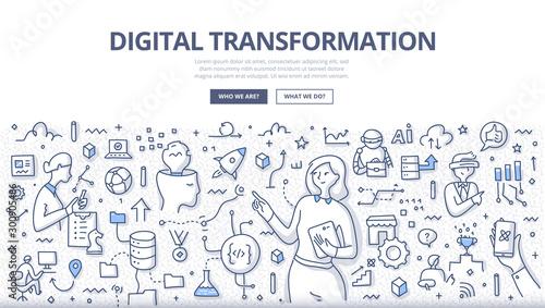 Fotomural  Digital Transformation Doodle Concept