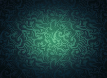 Damask Vintage Green Background With Floral Elements In Gothic, Baroque Style. Royal Texture, Vector Eps 10