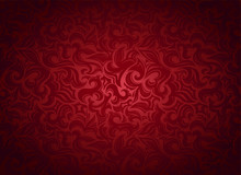 Damask Vintage Red Background With Floral Elements In Gothic, Baroque Style. Royal Texture, Vector Eps 10