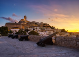 Fototapeta Nowy Jork - beautiful sunset in the historic area of Dalt Vila in Ibiza,Balearics,Spain.Cathedral and white houses in the wall area