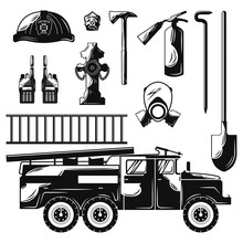Set Of Flat Firefighter Elements.