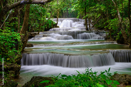 A beautiful waterfall deep in the tropical forest steep mountain adventure in the rainforest. - 300906415