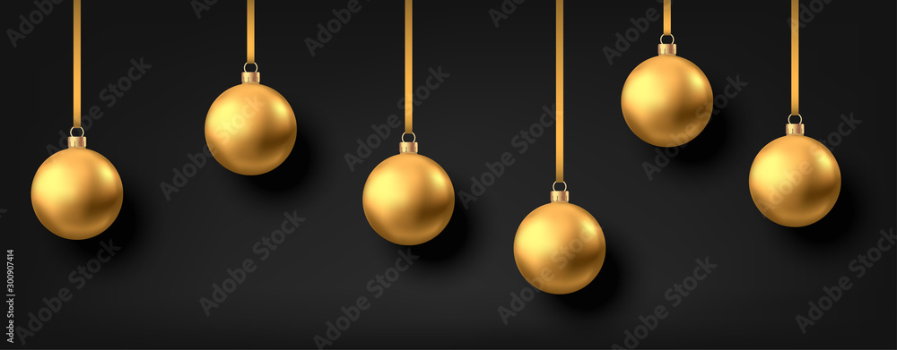Fototapety, obrazy: Golden  hanging Christmas balls isolated on black  background.