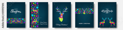 Fotomural  Colorful Christmas  reindeer and  snowflakes.