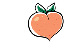 Peach In Shape Of Heart, Illustration, Vector On White Background.