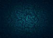 Damask Vintage Dark Cyan, Blue...