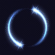 Magic Blue Circle Light Effect Isolated On Transparent Background. Luminescent Frozen Stardust With Bright Bokeh And Sparkles. Vector Illustration.