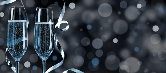 Blue-silver Silvester Background
