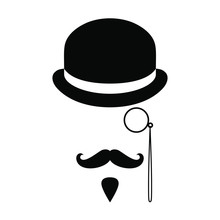 Person Graphic Icon. Man With Moustaches, Beard, Monocle And Bowler Hat. Graphic Sign Isolated On White Background. Vector Illustration