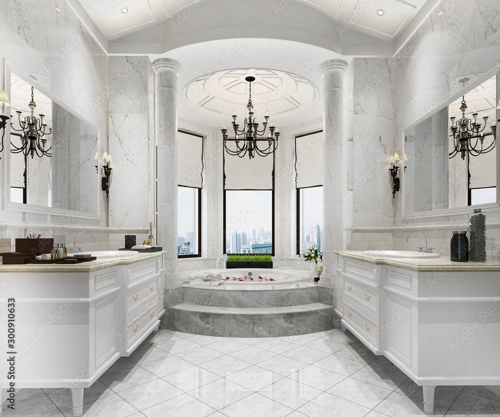 Fototapeta 3d rendering classic modern bathroom with luxury tile decor - obraz na płótnie