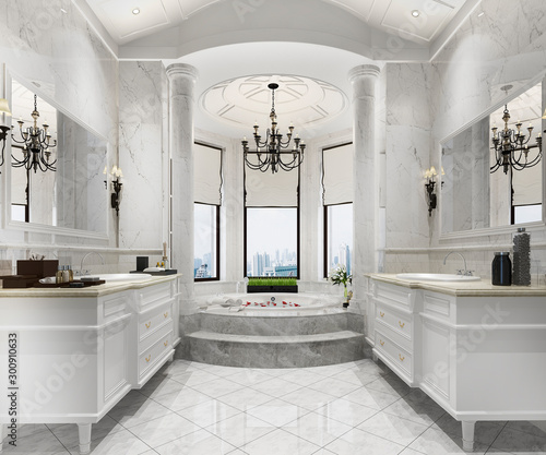 Fototapeta 3d rendering classic modern bathroom with luxury tile decor obraz na płótnie