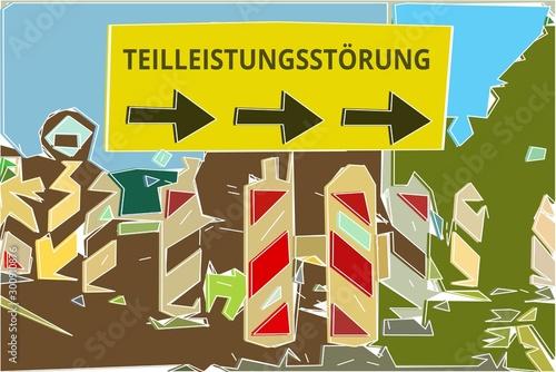 Teilleistungsstörung - Konzept Wegweiser Gelbes Schild 14, Pfeile nach rechts Canvas Print