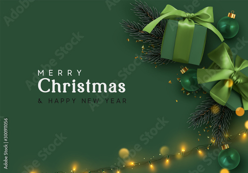 Holiday background Merry Christmas and Happy New Year. Xmas design with realistic festive objects, dark green color gift box, balls, light lamps garlands, glitter gold confetti. Festive banner, poster