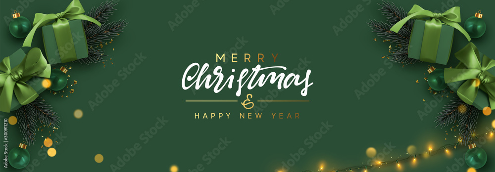 Fototapety, obrazy: Holiday banner Merry Christmas and Happy New Year. Xmas design with realistic objects, realistic dark green color gift box, balls, light lamps garland, glitter gold confetti. Festive horizontal poster