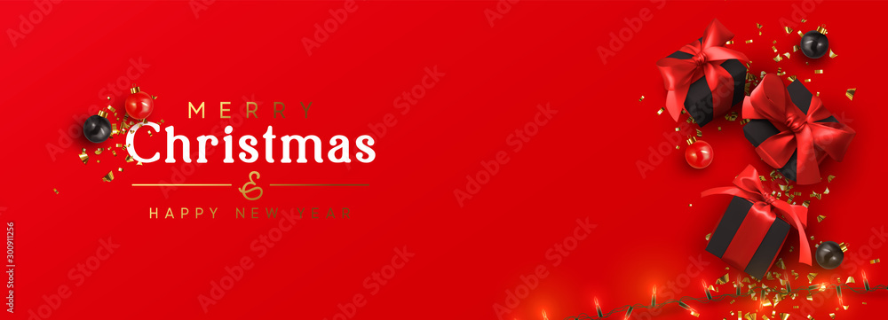 Fototapety, obrazy: Holiday banner Merry Christmas and Happy New Year. Xmas design with realistic festive objects, black gift box, red balls, light lamps garlands, glitter gold confetti. Horizontal poster, flat top view