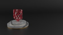 3D Rendering Of Red Gemstone Symbol Of Been Here Marker Icon