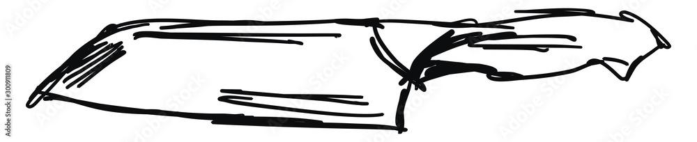 Fototapeta Drawing of a knife, illustration, vector on white background.