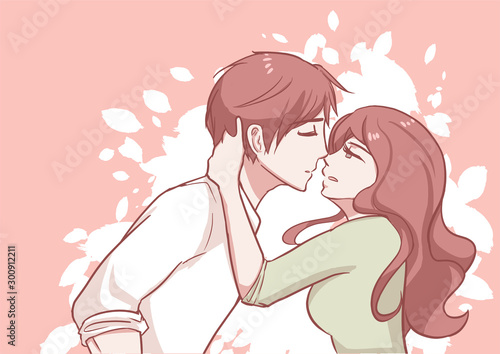 couple-kissing-woman-grab-man-neck-pull-down-to-her-face-romantic-sweet-pastel-vector-illustration-in-concepts-cute-kawaii-anime-manga-style-relationship-and-valentine-in-love