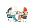 canvas print picture - Hand drawn vector abstract cartoon modern graphic girls sitting in cafe and drinking coffee illustration art isolated on white background
