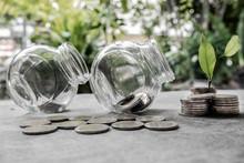 Glass Jar Piggy Bank With Coin...