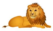 Cute Cartoon Lion Isolated On ...