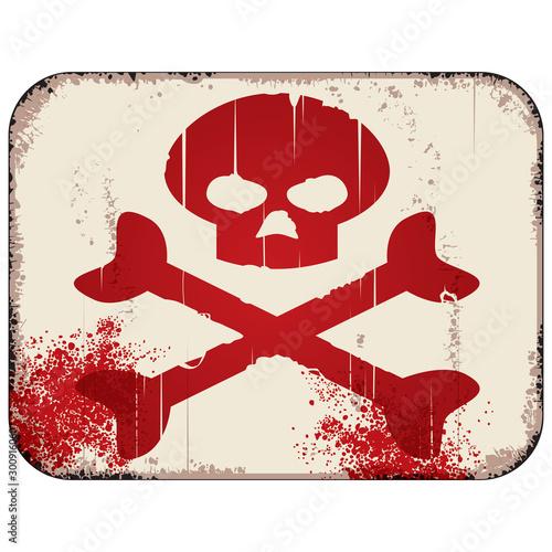 Danger skull and crossbones sign Wallpaper Mural