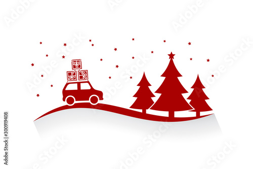 Tuinposter Cartoon cars Christmas time driving in the snowfall. Flat design vector illustration of a car with presents going on a trip in christmas eve.