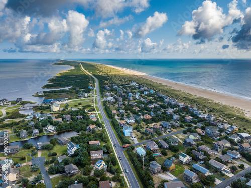 Foto auf Leinwand Khaki Aerial photo of beach town at Atlantic coast of America