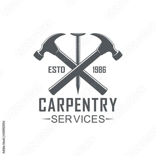 Fotografia, Obraz Black and white illustration logo of a workshop of carpentry