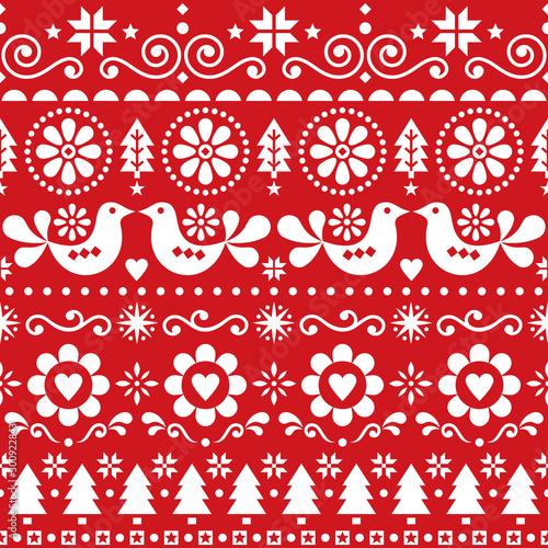 Vászonkép  Christmas folk art vector seamless pattern, Scandinavian festive design with bir