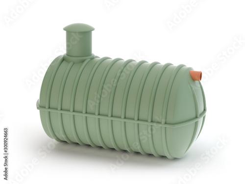 Valokuvatapetti Plastic septic tank isolated on white -  3d Illustration